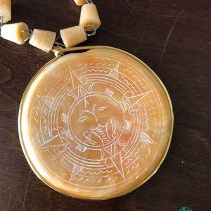 VTG handmade yellow onyx necklace